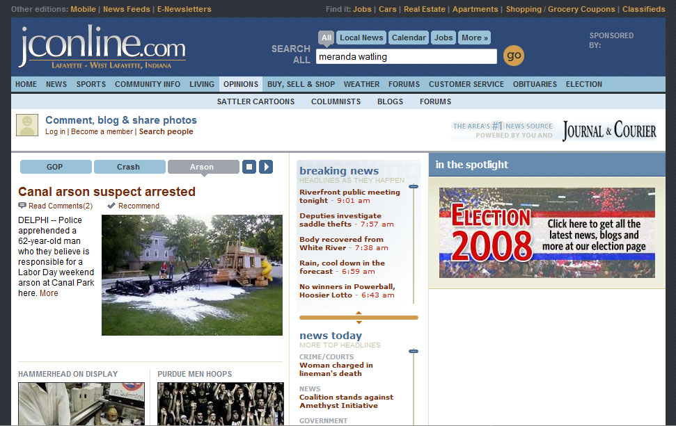 The top of jconline.com, home of The Journal-Courier